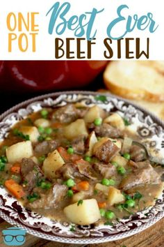 One Pot Best Ever Beef Stew really is the best ever! It's thick and stuffed full of beef, potatoes, carrots, onion, celery and peas! Best Beef Stew Recipe, Beef Recipes, Cooking Recipes, Yummy Recipes, Dinner Recipes, Jamaican Recipes, Family Recipes, Salmon Recipes, Recipies