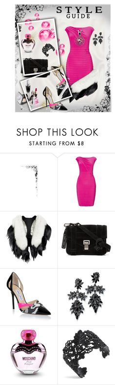 """""""Best friend bachelor's Party"""" by pamphil ❤ liked on Polyvore featuring Adrianna Papell, Fearfur, Proenza Schouler, Jimmy Choo, Fallon, Moschino and BERRICLE"""