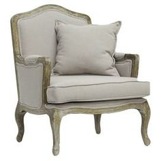 """A perfect addition to your living room or den, this weathered birch wood arm chair showcases linen upholstery and a complementing pillow.      Product: ChairConstruction Material: Birch wood and linenColor: Warm beige and grayFeatures: Cabriole legs One accent pillow includedWeathered finishDimensions: 37.25"""" H x 29.25"""" W x 29"""" DCleaning and Care: Spot clean only"""