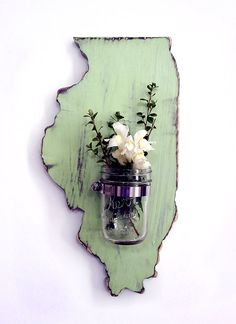 Illinois State with Re-purposed  Mason Jar  Vase/Candle holder (Pictured in Moss) Pine Wood Sign Wall Decor Rustic Americana Country Chic  -I can so make this with nebraska shaped wooden piece.