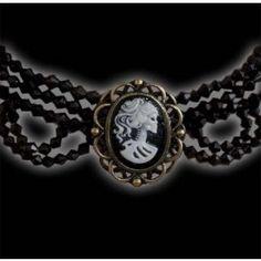Tour de Cou Gothique Victorien Steampunk Camée Mort