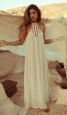 Maxi halter + crochet bib = boho goddess