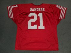 Men's Vintage Red & White SAN FRANCISCO 49ers #21 SANDERS NFL Jersey, Size XXL #WILSON #SanFrancisco49ers