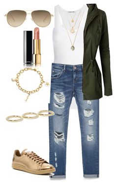 """""""Untitled #972"""" by aagyekumwaa on Polyvore featuring Helmut Lang, Zara, LE3NO, adidas, Kate Spade, Jennifer Fisher, Gucci and Chanel"""