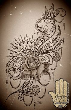 Feminine Rose Mandala tattoo design with lace and Mendi patterns. Thighs or … , Feminine Rose Mandala tattoo design with lace and Mendi patterns. Miami Ink Tattoos, Neue Tattoos, Body Art Tattoos, Tattoo Drawings, Sleeve Tattoos, Cool Tattoos, Arm Tattoos, Anchor Tattoos, Tatoos