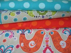 Scandinavian Decorator Fabric bundle / Japanese Fabric/ Kokka orange birds / pillow cuts / Bundle on SALE