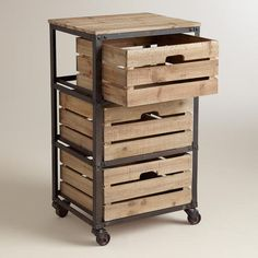 Add some rustic charm to your home office with our handsome three-drawer cart. Featuring crate-inspired slat wood drawers, a distressed metal frame and swiveling, locking wheels, it brings warm, casual style to functional storage. Storage Cart, Desk Storage, Wood Storage, Crate Storage, Office Storage, Bathroom Storage, Metal Furniture, Industrial Furniture, Diy Furniture