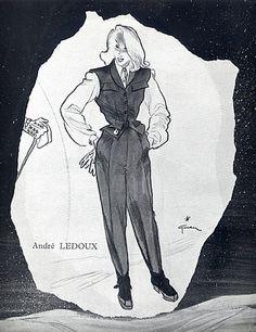 André Ledoux 1945 Back Jeanne Lafaurie Sport Ski Fashion, René Gruau Ski Fashion, School Fashion, Mode Vintage Illustration, Rene Gruau, Sketchbook Inspiration, Drawing Clothes, International Artist, Character Creation, Vintage Fashion
