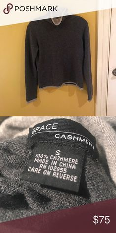 Grace 100% Cashmere Sweater (Size S) **NOT BRANDY MELVILLE TAGGED FOR EXPOSURE BC BRANDY MELVILLE SOMETIMES CARRIES THIS BRAND**  Beautiful, 100% cashmere high neck sweater from Grace Cashmere. Two-toned gray color with a dark gray body & light gray ends. This is a lovely article, so only VERY reasonable offers will be considered. thank you. Brandy Melville Sweaters Cowl & Turtlenecks