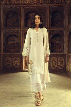 586a9cab1ac Beautiful off white three piece Pakistani silk suit by Ammara Khan