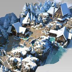 Landscape Concept, Fantasy Landscape, Landscape Art, Fantasy Town, Fantasy Map, Final Fantasy, Viking Village, Village Map, Environment Concept Art