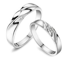 His and Hers Matching Couples Wave Wedding Rings Set with CZ in Sterling Silver
