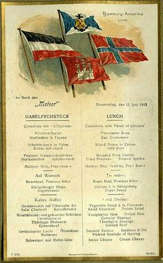 Northland cruise menu 1913