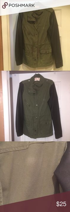 Green Canvas Jacket size L Long sleeve canvas jacket with faux leather sleeves.  There are a couple of fading spots I put in pics, not sure if it is detergent since it just got washed or just plain ole fading. Cute jacket has snap buttons and zipper Forever 21 Jackets & Coats