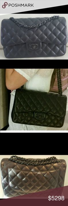 Chanel Jumbo so black classic flap Impossible to find magnificent Chanel So Black Jumbo handbag.   This amazing bag is made of lambskin quilted leather and has black hardware!!   1000% authentic. Comes with Chanel boxing and Authentication card with serial number.   Never used!   This item ships with complimentary shipping including insurance. CHANEL Bags Shoulder Bags