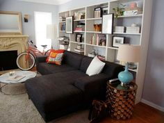 Leather Sleeper Sofa Image result for bookcase behind sofa
