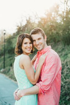 I love coral and mint together for this couple's engagement photo wardrobe! by Jophoto