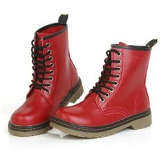 2014 New Black Red Women's Genuine Leather Shoes Motorcycle Boots $39.99