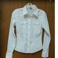 """White button  down shirt EUC, cotton shirt with thin silver metallic threads running through vertically. This is small-- only 16"""" across the bust. refuge Tops Button Down Shirts"""