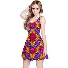 Multicolored Geometric Print Reversible Sleeveless Dress by #dflcprints