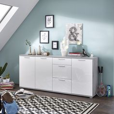 Almera large sideboard in concrete optics and white high gloss fronts with 3 doors and 3 drawers, will provide ample of storage as well decorative space - 31087 dining room sideboard, modern & contemporary. In wood oak, grey, white high gloss with led. Dining Room Sideboard, Large Sideboard, Sonoma Oak, Furniture Catalog, Drawer Fronts, High Gloss, Concrete, Drawers, Storage