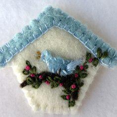 Little Birdhouse Pin. Felt Bird Brooch. Wool by hart2hartdesigns, $18.00