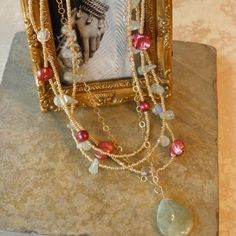 Aquamarine Gold Chain, Pearl and Seed Bead Necklace