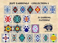 Free Indian Earring Patterns | Just Earrings 21 Brick Stitch Earring Bead Patterns Collection 1