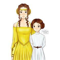 Imagen de daughter, mother, and star wars Star Wars Fan Art, Star Wars Humor, Star Wars Clone Wars, Star Trek, Starwars, Anakin And Padme, Love Stars, Reylo, Our Lady