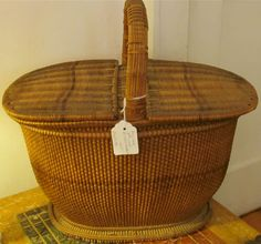 I'm not sure if this basket was used for sewing or for picnics but either way it was well made and built to last. We have many old baskets i. Old Baskets, Vintage Baskets, Picnic Baskets, Rustic Baskets, French Baskets, Nantucket Baskets, Weaving Art, Basket Weaving, Decoration