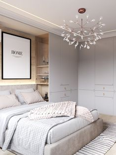 """Bedroom Scandinavian Style and Decoration, '' Scandinavian bedrooms style and decor"""" is one of the best ideas to beautify your room. '' Bedroom Scandinavian Style and Decoration 'is synonymous with a simple, clean and neat appearance, Modern Bedroom Design, Home Interior Design, Contemporary Bedroom, Diy Interior, Small Modern Bedroom, Bedroom Classic, Master Bedroom Wardrobe Designs, Long Narrow Bedroom, Wardrobe Bed"""