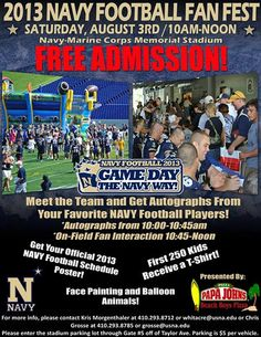 #NavyFootball FanFest is just over a week away! Come out to this FREE event next Saturday from 10am-12pm to meet and hang out with the team!