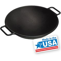 "Lodge Pro Logic 14"" Cast Iron Wok - Great for cooking while camping..."