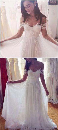 A-Line Wedding Dresses,Long Appliques Wedding Dresses,Wedding Dresses,Cap Sleeve Wedding Dress #weddingdress