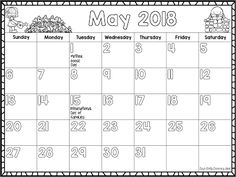 2017-2018 MONTHLY CALENDARS  Have you grabbed one of these free calendars to use with your kids for the next year? They run through till June 2018 and you can download versions for weeks running:  Sunday to Saturday  Monday to Sunday  There are also extra pages for special days occurring in the US Australia & New Zealand the UK and Canada.  You can find them at Liz's Early Learning Spot and there are links to editable versions if you'd like those.  Till next time!  2017-2018 calendar 2018…