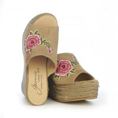 GAIMO Flash Camel Suede Embroidered Espadrilles | SPANISH SHOP ONLINE