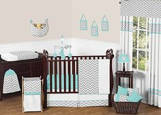 Turquoise and Gray Zig Zag 4-Piece Crib Bedding Set has all that your little bundle of joy will need. Let the little one in your home settle down to sleep in this incredible nursery set. This baby bedding set features a sensational Sweet Jojo Designs Zig Zag print. This set uses the stylish colors of muted gray, turquoise, and crisp white. The design uses 100% cotton fabrics that are machine washable for easy care. This wonderful set will fit all cribs and toddler beds. Crib set includes…