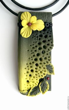Polymer clay lace necklace, flower pendant, yellow flower, handmade jewelry