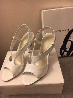 5c2e2b076a7 NINE WEST Dollface Women s Shoes White w Mirror Heel (Size 8)  fashion