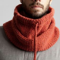 Knit/crochet a rectangle in stitches of your choice until it's a goodly size.Hooded cowl for menKnitting Patterns Men Knitted man& snipe / hat-hood with knitting needles. Knit Cowl, Knitted Shawls, Crochet Scarves, Crochet Hats, Scarf Hat, Wool Scarf, Men Scarf, Loom Knitting, Hand Knitting