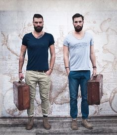 Globe Trotters leather suitcase beard t shirt denim jeans hair fashion streetstyle men tumblr