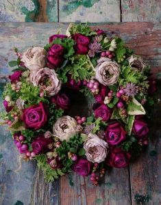 NDI Hydrangea Rose Faux-Floral Arrangement - Natalca: Natalca Gallery Ideas] Related posts:Natasja Sadi, from Cake Atelier Amsterd - Wreaths And Garlands, Holiday Wreaths, Christmas Decorations, Floral Wreaths, Mesh Wreaths, Holiday Decor, Hortensia Rose, Fall Floral Arrangements, Deco Floral