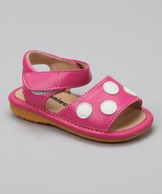 Another great find on #zulily! Hot Pink Polka Dot Squeaker Sandal #zulilyfinds
