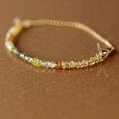 Yellow Sapphire Array Bracelet Gemstone Gold Handmade Jewelry. $98.00, via Etsy.