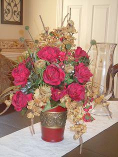 Handmade Silk Floral Arrangement Gold & by LuxuryInBloombyJulie