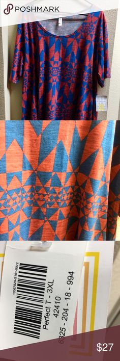 Lularoe NWT Perfect size 3X Super cute red and blue 3X Lularoe Perfect T. New with tags. This will look perfect with jean shorts tied up on the sides this summer! Be sure to look at my other listings, lots of Lula needs a new home! Make me an offer, I just may take it :) LuLaRoe Tops Tees - Short Sleeve