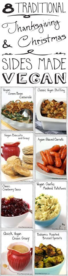 8 Traditional Thanksgiving & Christmas Sides Made Vegan. Delicious enough for everyone to enjoy! #itdoesnttastelikechicken – More at http://www.GlobeTransformer.org