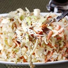 There's no better way to use garden-fresh cabbage and carrots than in this colorful, tangy salad. Make this coleslaw part of a summer picnic! No Dairy Recipes, Cooking Recipes, Yummy Recipes, Yummy Food, Asian Coleslaw, Coleslaw Mix, True Food, Healthy Salad Recipes, Coleslaw Recipes