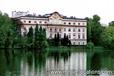 The Sound of Music filming location: the rear, lakeside terrace, of the 'Von Trapp' mansion: Schloss Leopoldskron, Salzburg, Austria