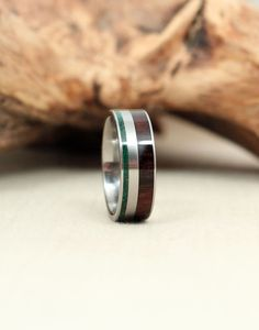 Malaysian Blackwood Wooden Ring and Malachite Deconstructed
